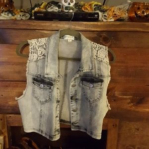Love Fire cropped Blue jean vest XL